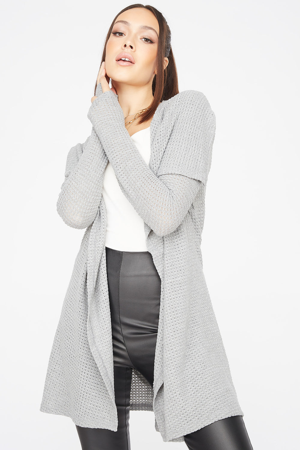 Knit Waterfall Belted Cardigan Heather Grey