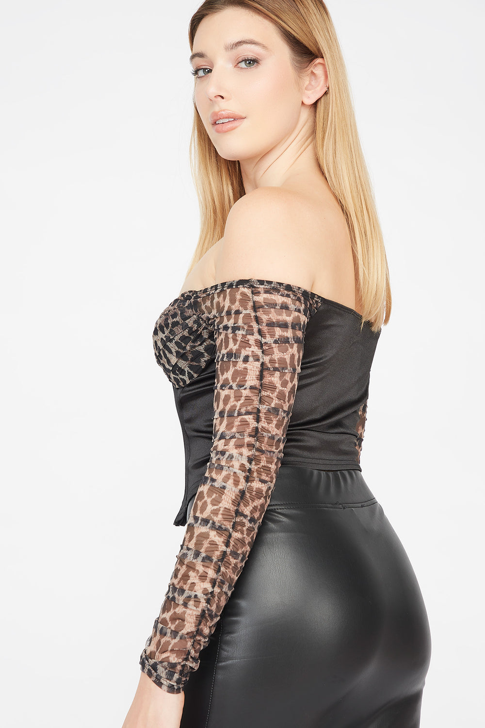 Mesh Off The Shoulder Hook And Eye Corset Blouse Black