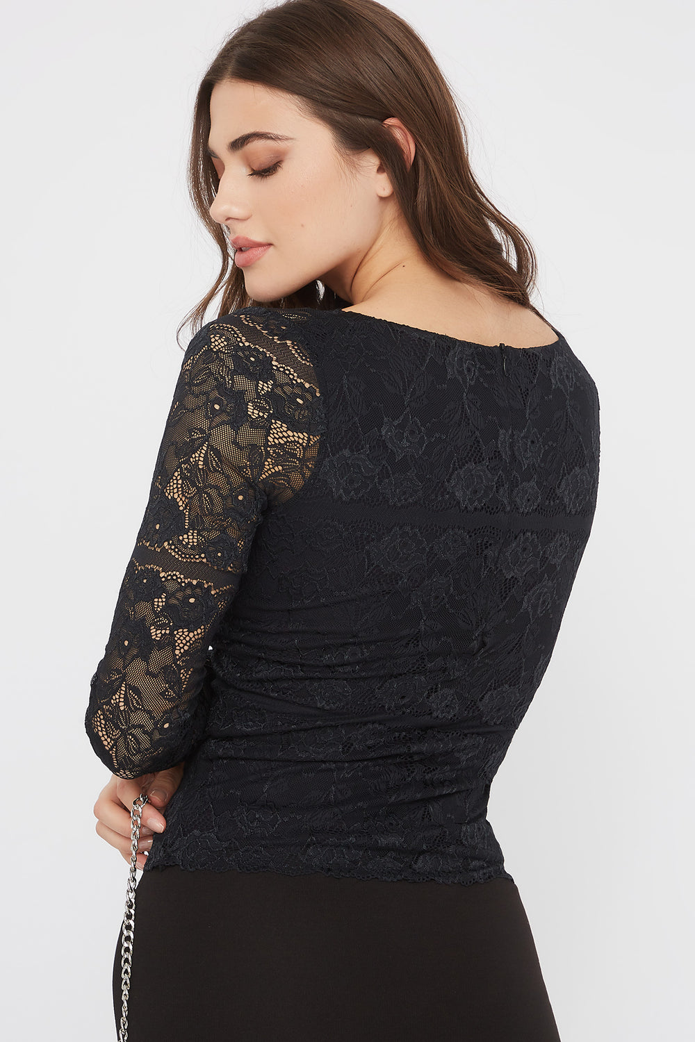 Lace V-Neck Padded Long Sleeve Blouse Black