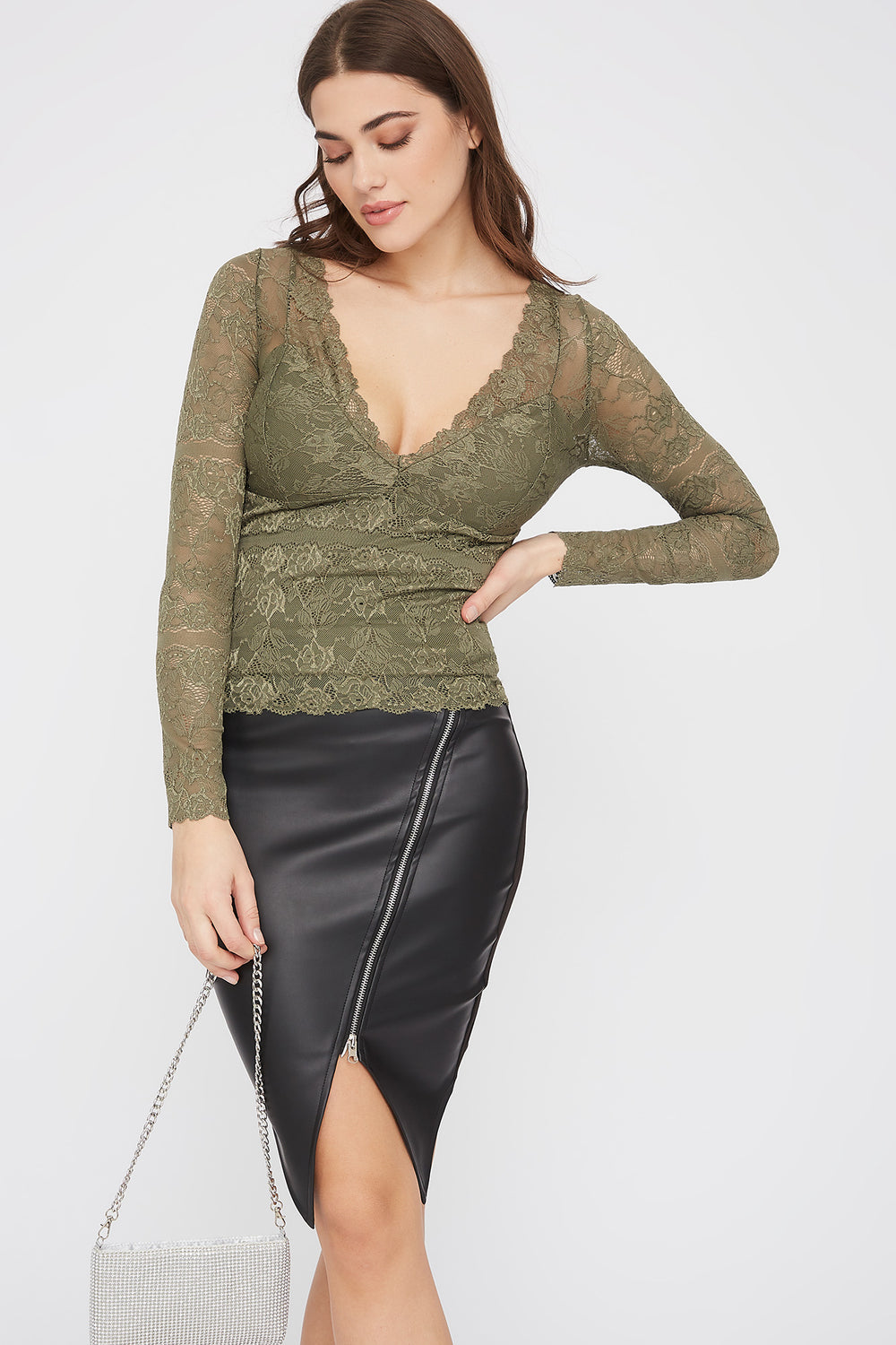 Lace V-Neck Padded Long Sleeve Blouse Dark Green