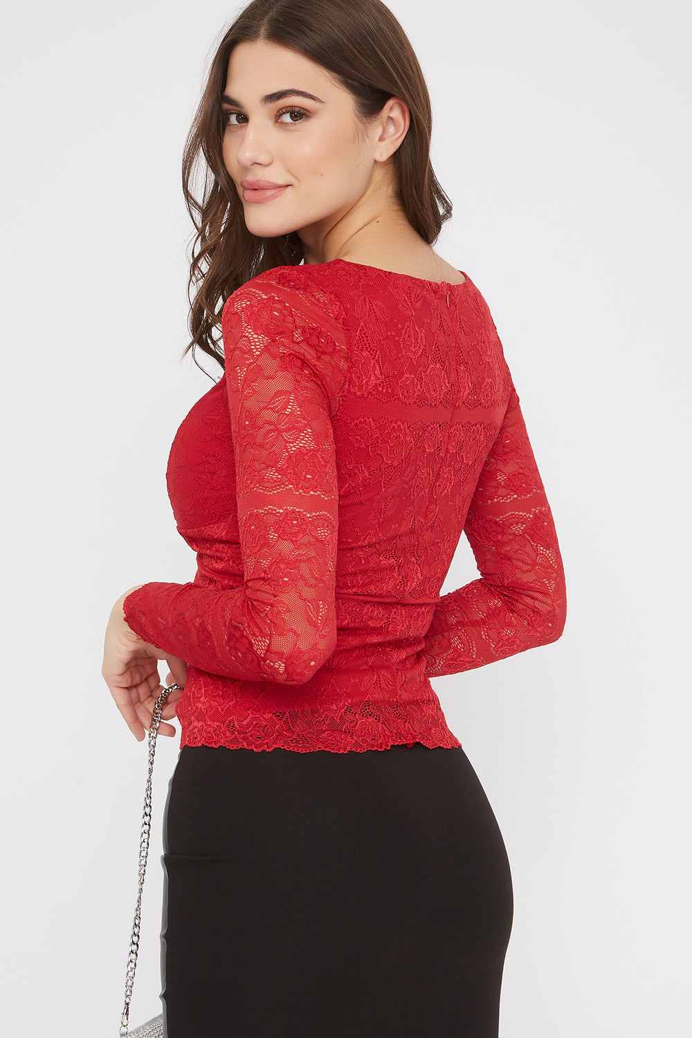 Lace V-Neck Padded Long Sleeve Blouse Bright Red