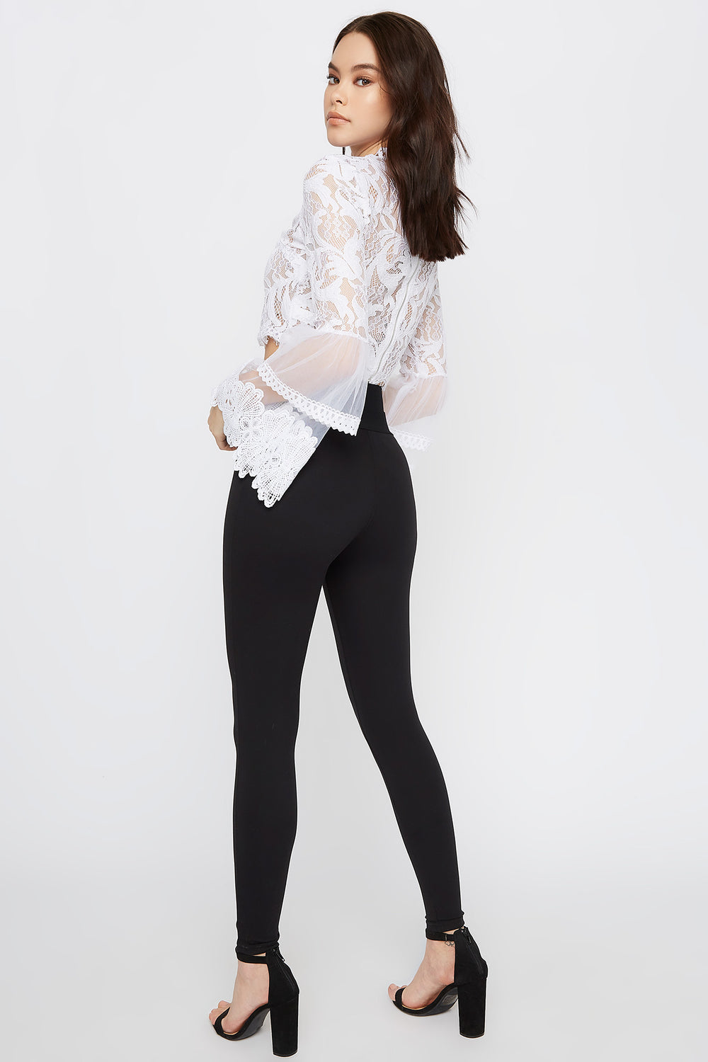 Cropped Mock Neck Lace Scallop Blouse White