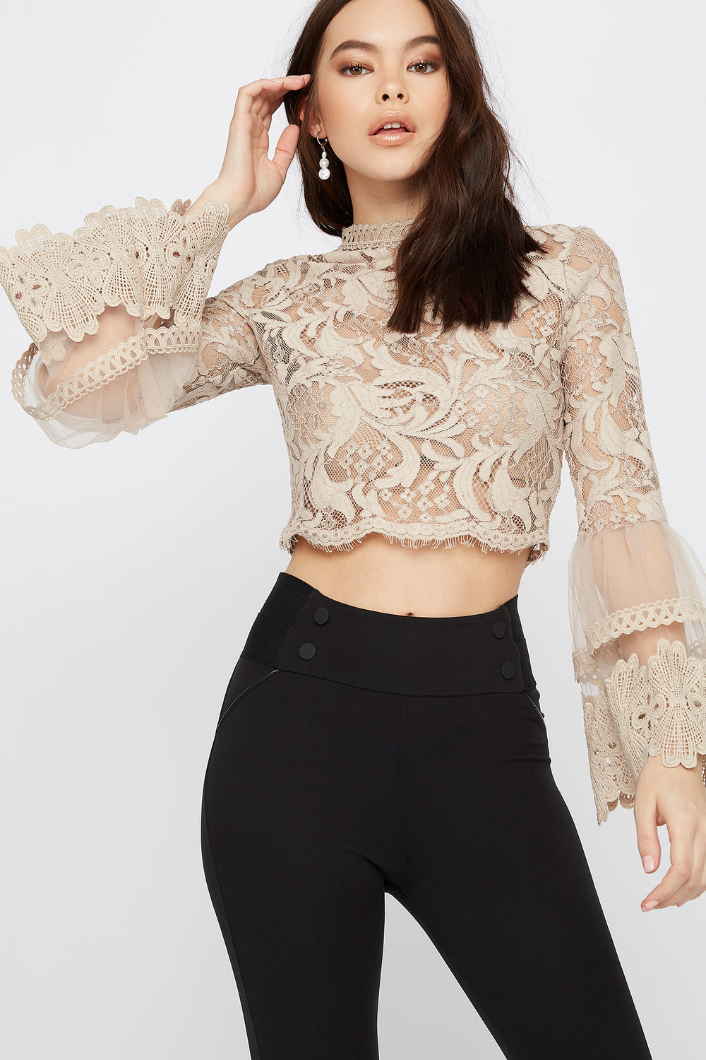 Cropped Mock Neck Lace Scallop Blouse Beige