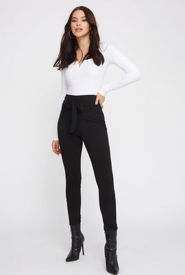 Skinny Self Belted Pull-On Pant