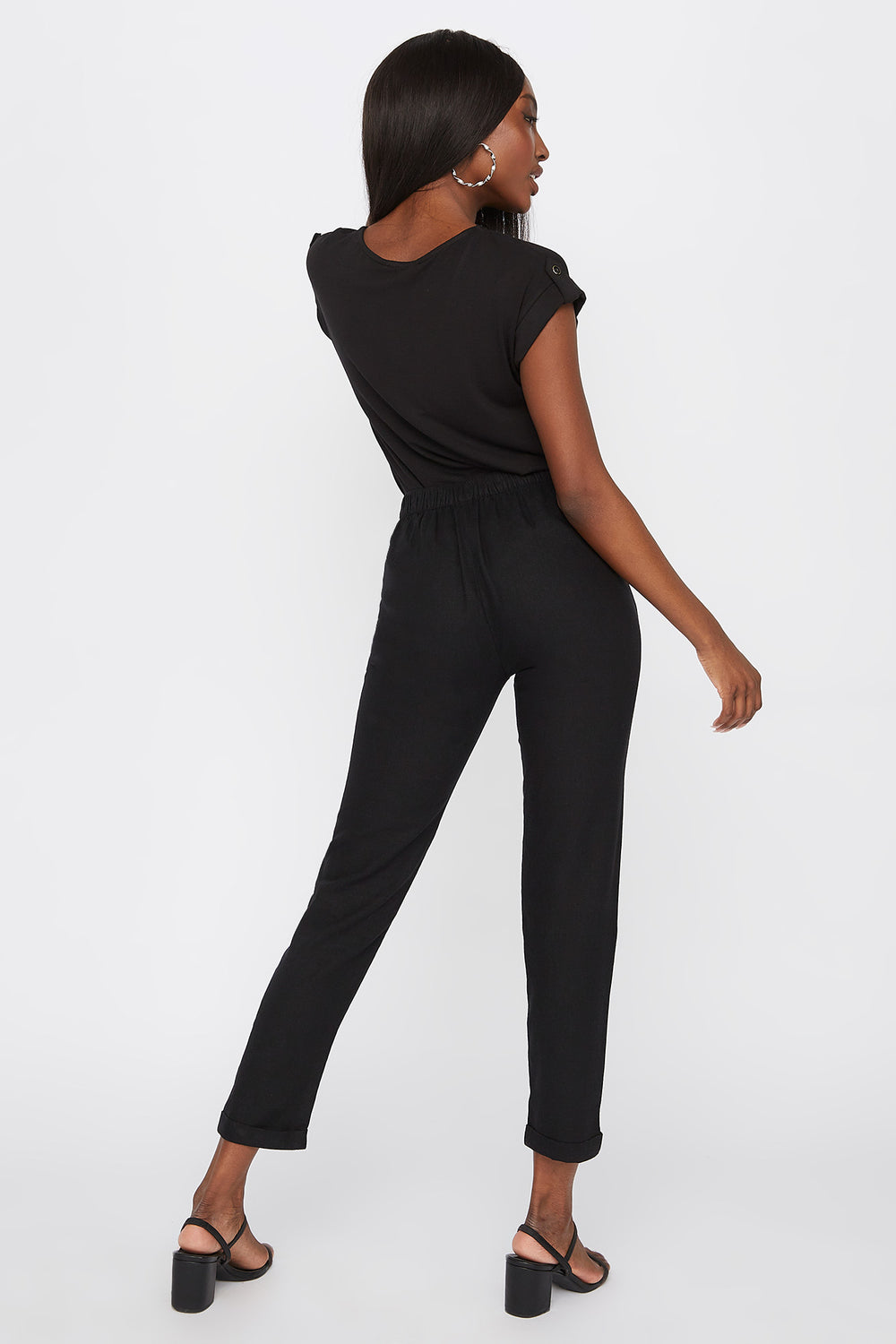 Linen High-Rise Cuffed Pant Black