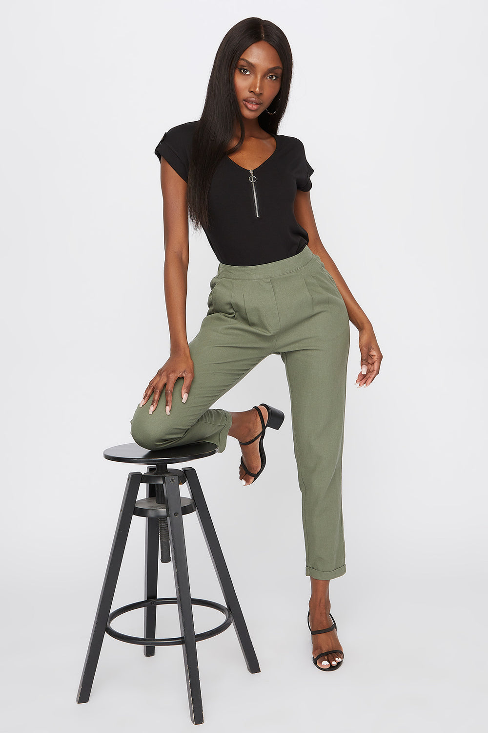 Linen High-Rise Cuffed Pant Dark Green