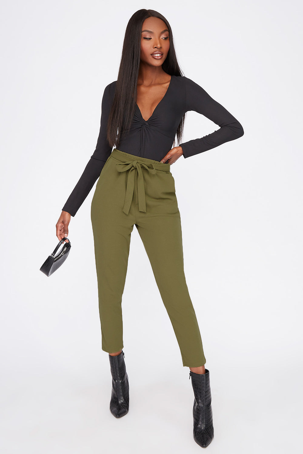Cropped Belted Crepe Pant Dark Green