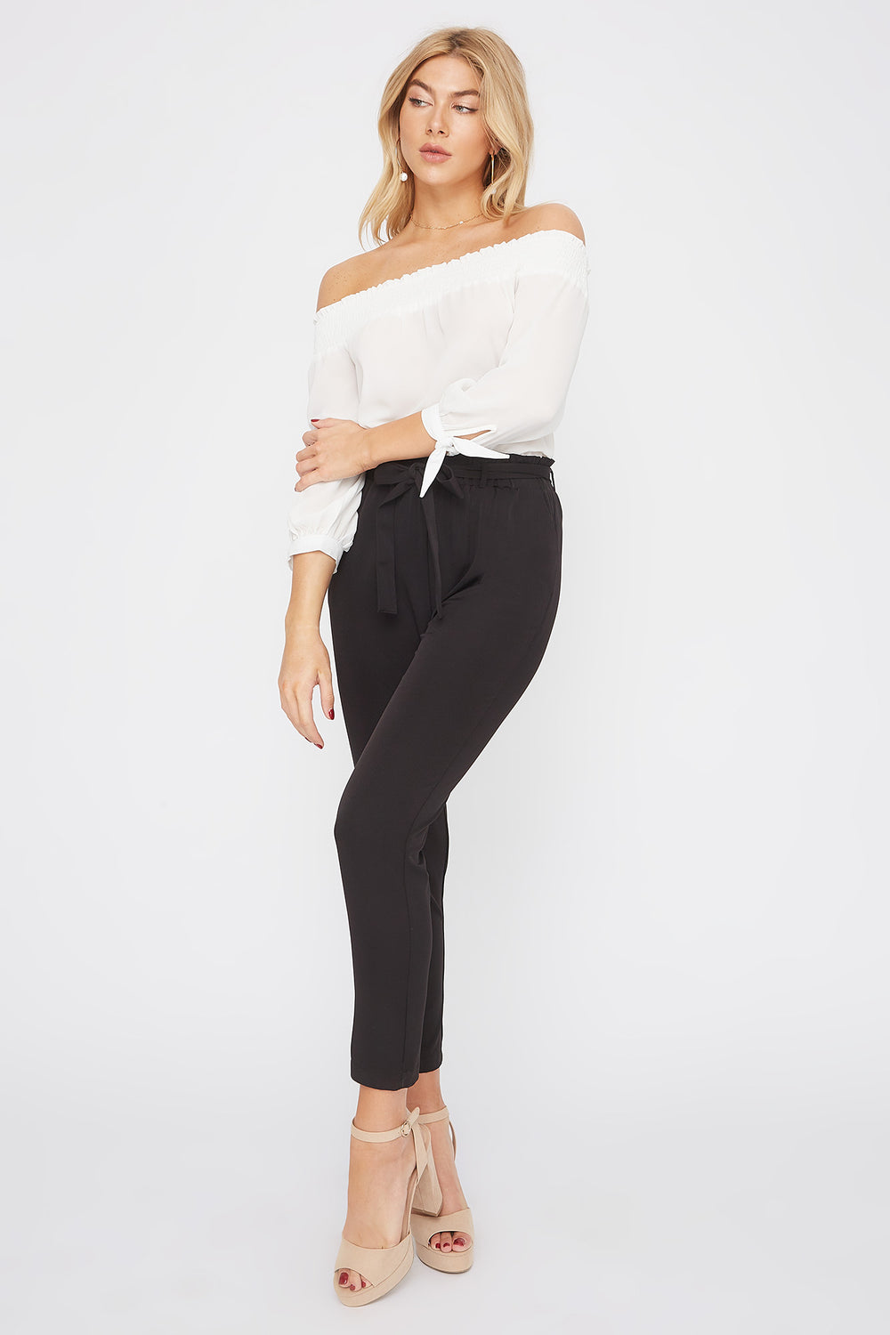 Self Tie Paperbag Skinny Pant Black