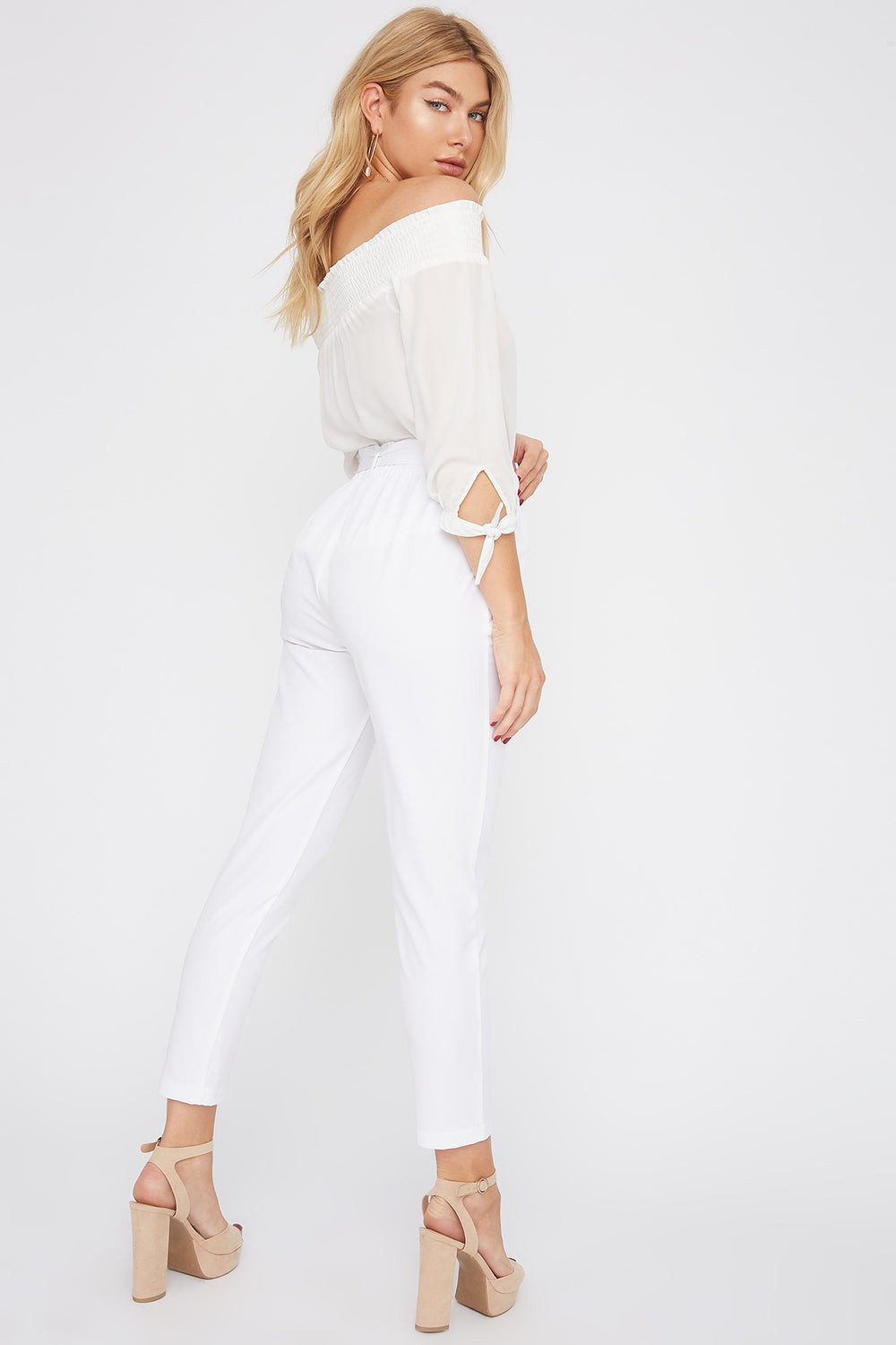 Self Tie Paperbag Skinny Pant White