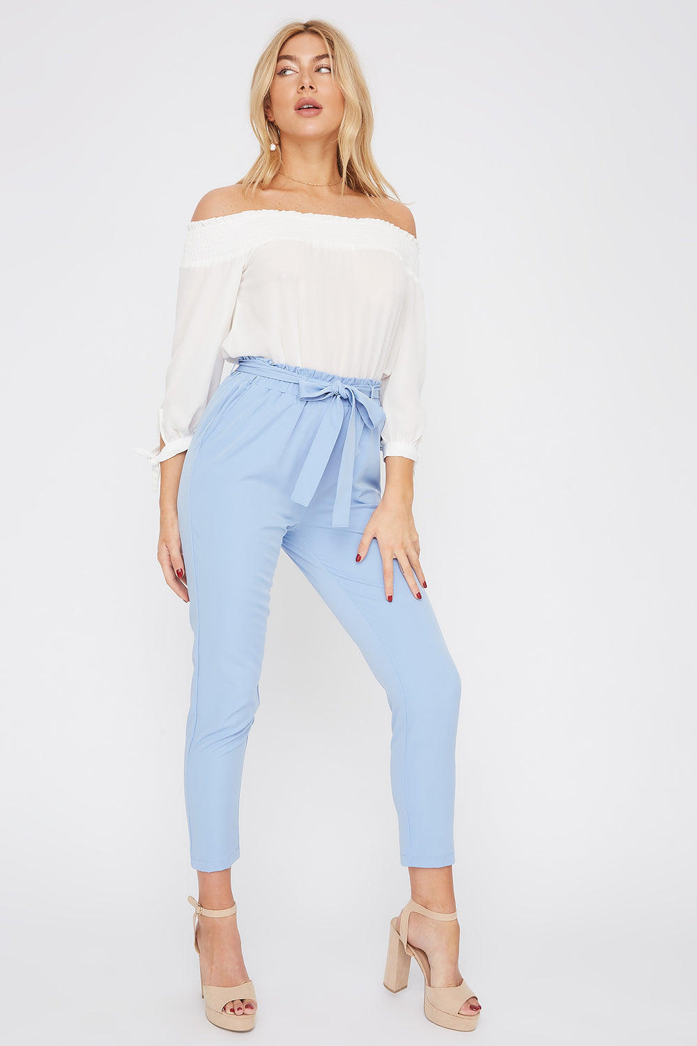 Self Tie Paperbag Skinny Pant Light Blue