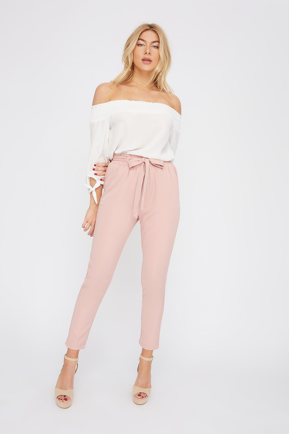 Self Tie Paperbag Skinny Pant Dusty Rose
