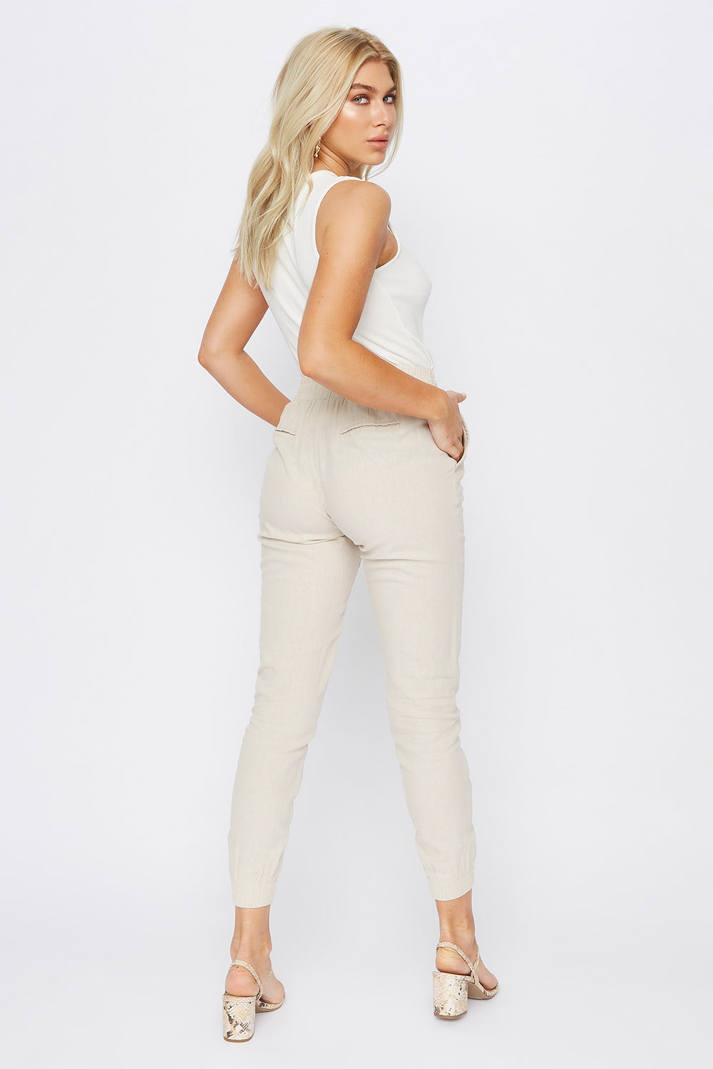 Solid Linen Jogger Natural
