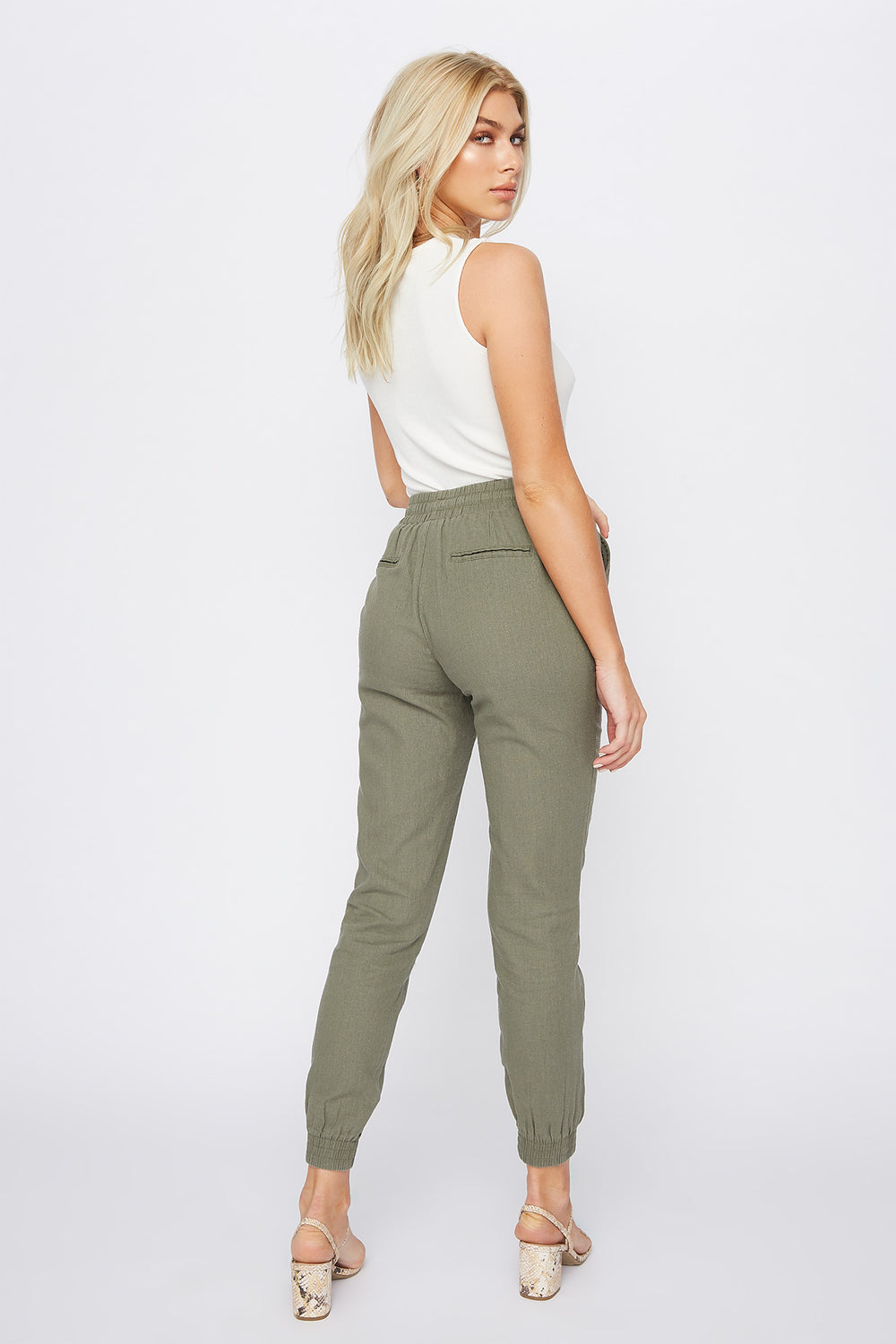 Solid Linen Jogger Dark Green