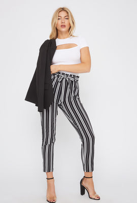 Striped Self Tie Paperbag Skinny Pant