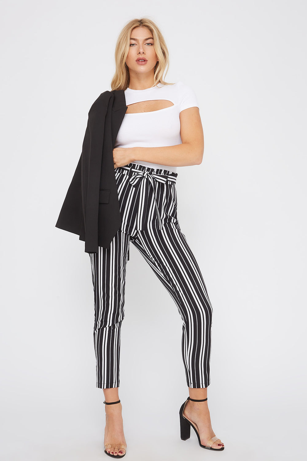 Striped Self Tie Paperbag Skinny Pant Black