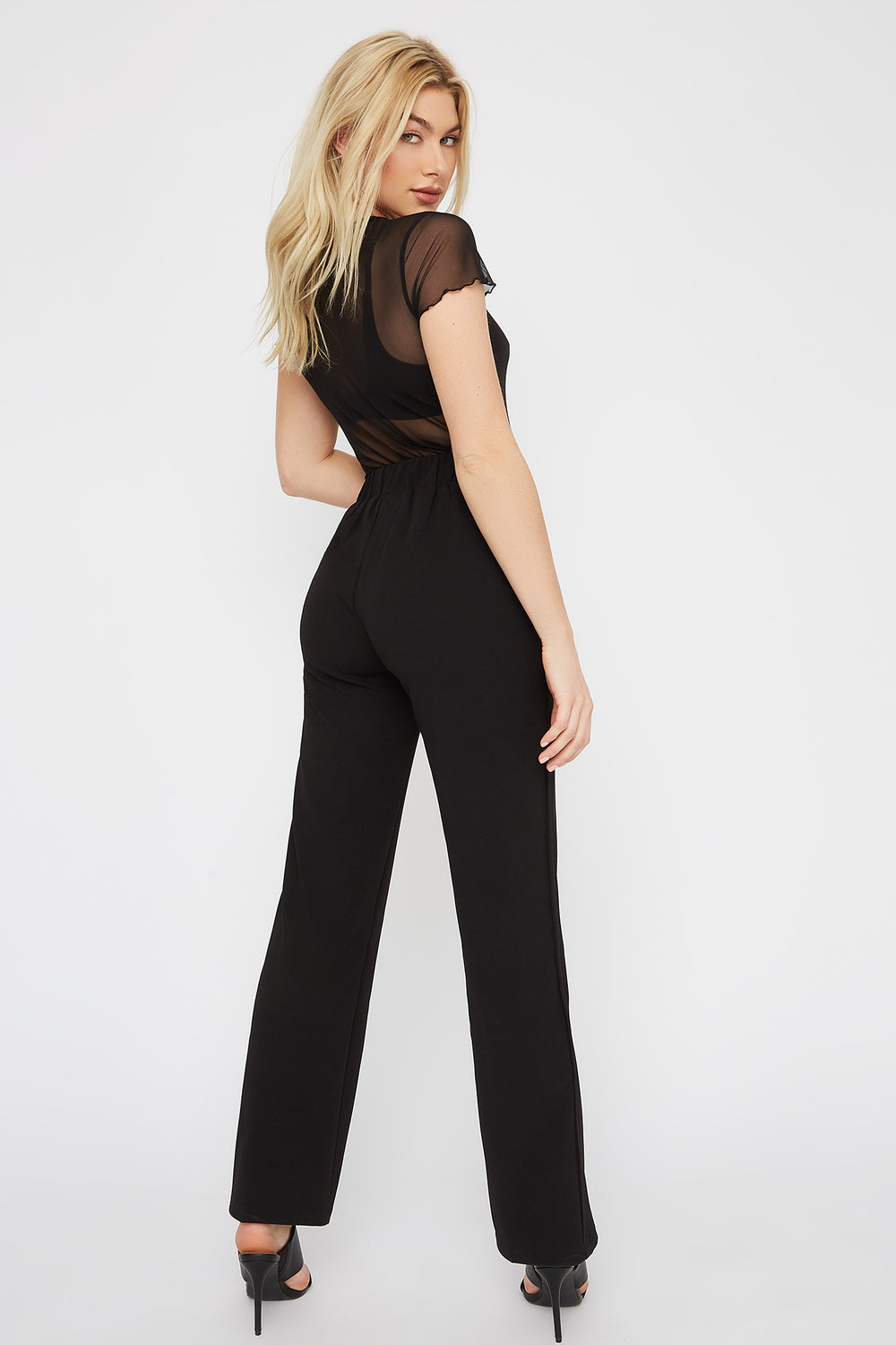 Crepe Pull-On Wide Leg Pant Black