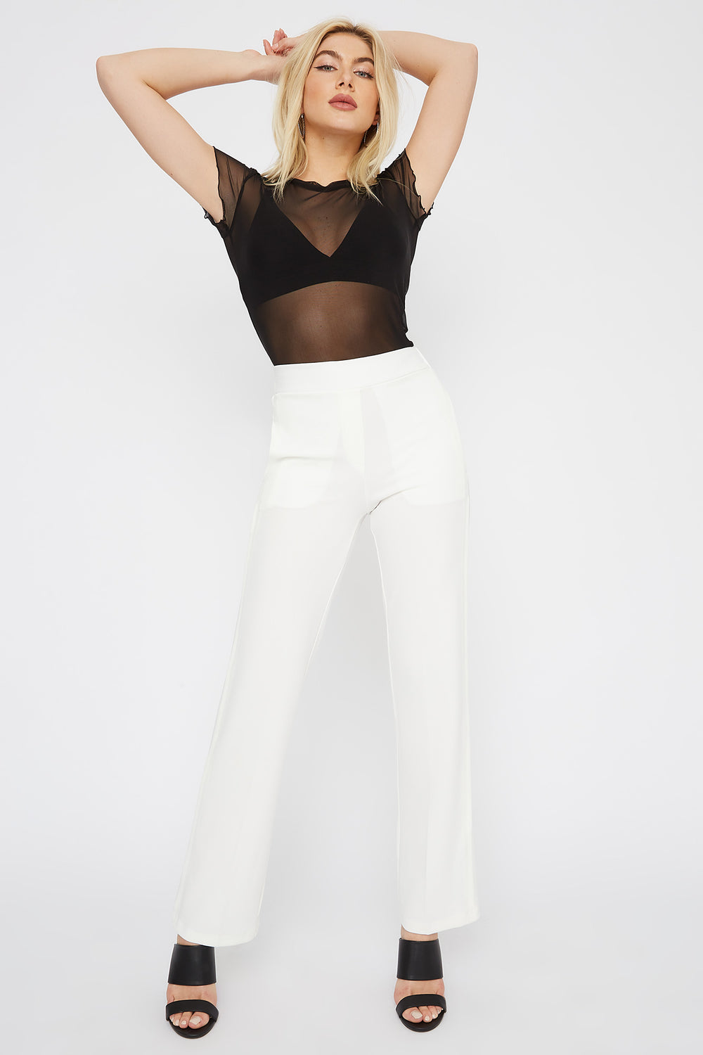 Crepe Pull-On Wide Leg Pant White