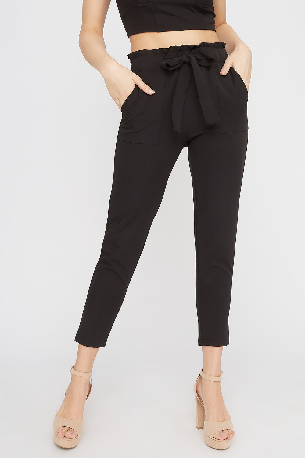 High-Rise Self-Tie Paperbag Skinny Pant Black
