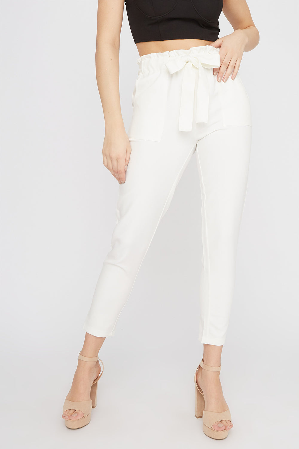 High-Rise Self-Tie Paperbag Skinny Pant White