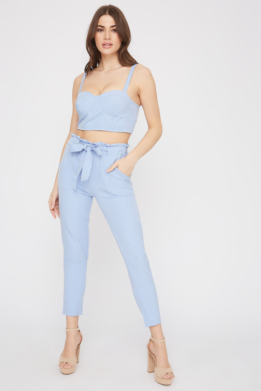 High-Rise Self-Tie Paperbag Skinny Pant Light Blue