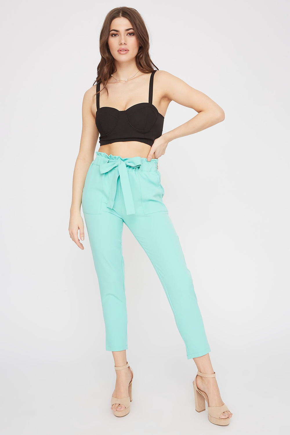 High-Rise Self-Tie Paperbag Skinny Pant Sage