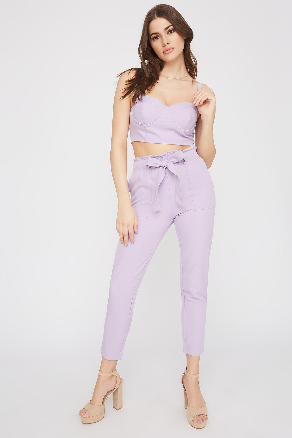 High-Rise Self-Tie Paperbag Skinny Pant Lilac