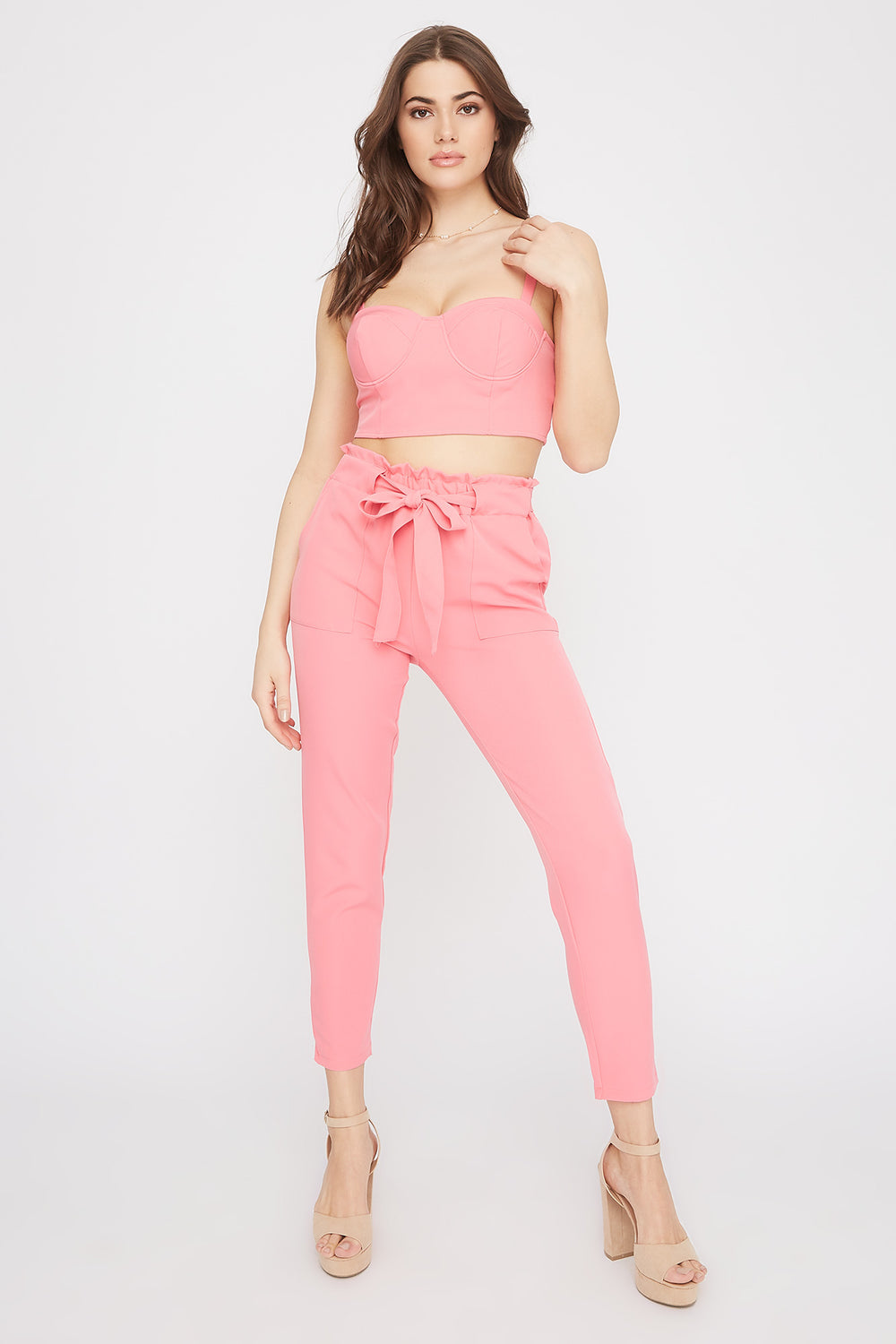 High-Rise Self-Tie Paperbag Skinny Pant Coral