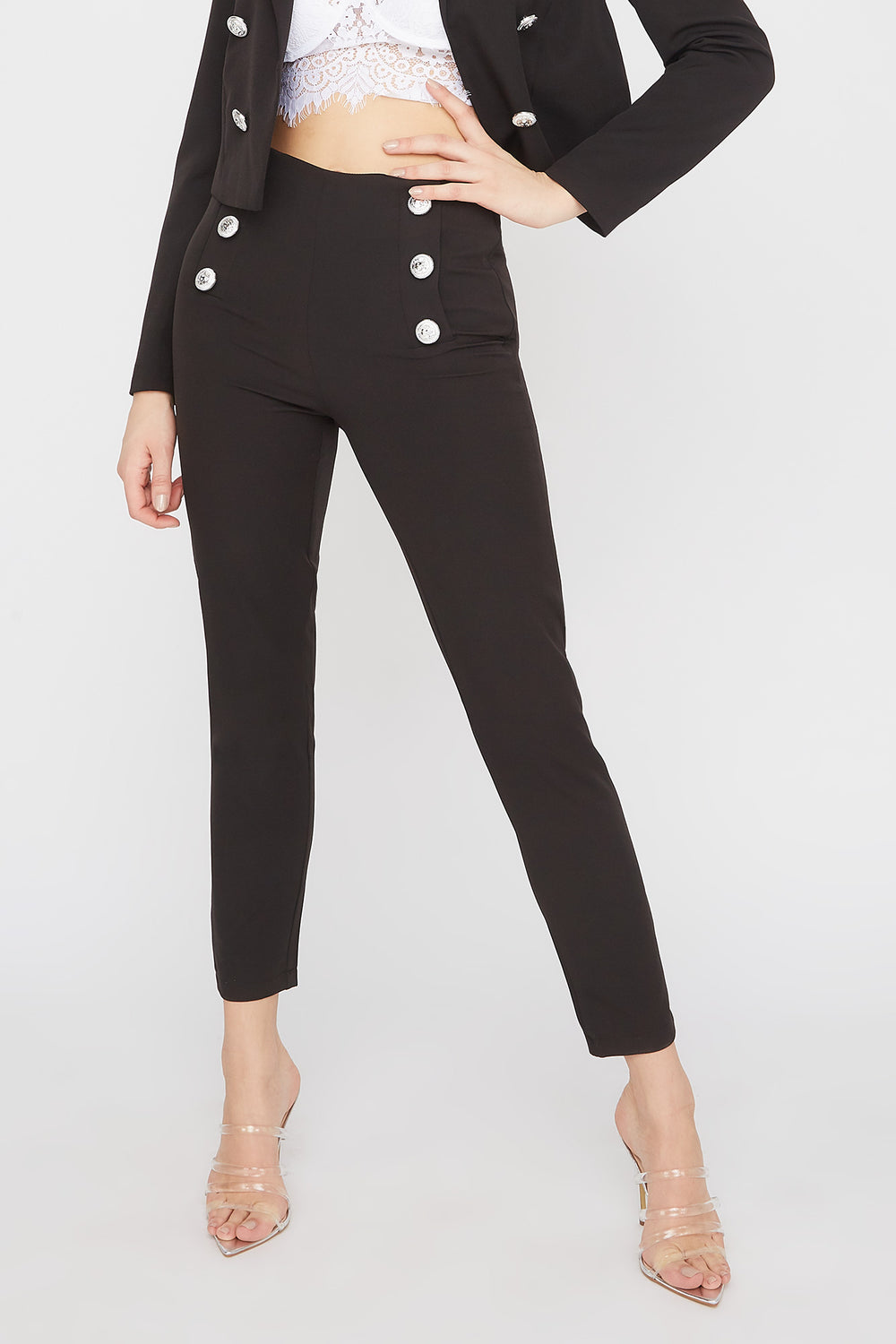 Double Button Skinny Pant Black