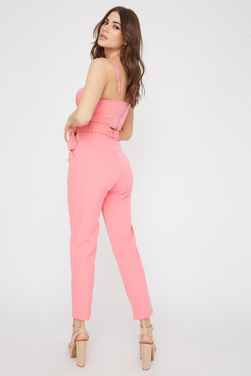 High-Rise Belted Single Pleat Pant Coral