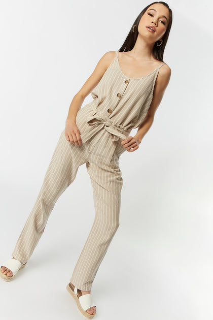 Striped Linen Self-Tie Pant
