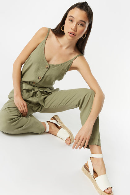 High-Rise Linen Self-Tie Belted Pant