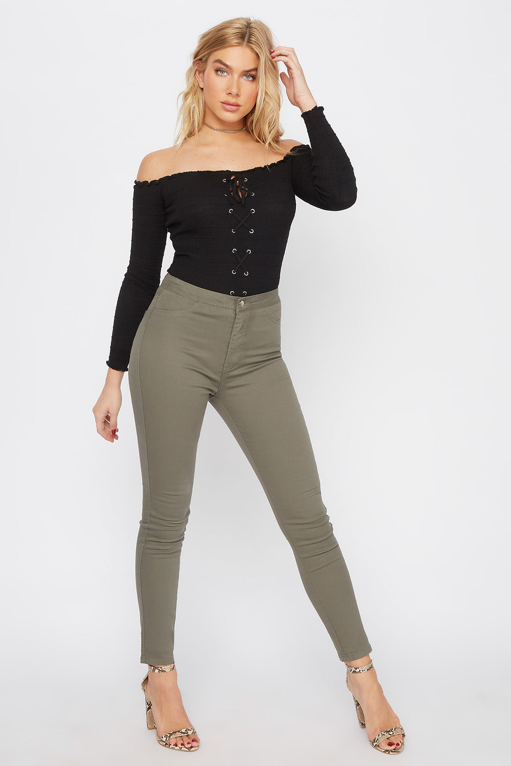 High-Rise Basic Skinny Pant Dark Green