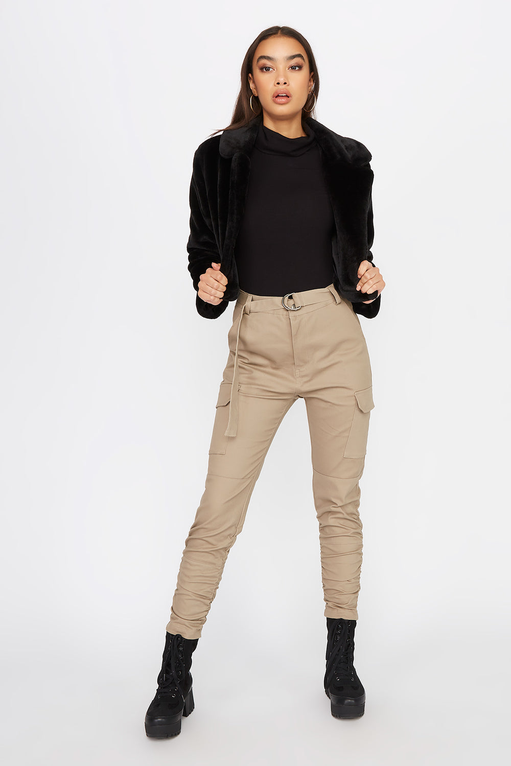 Ruched Cargo Pant Taupe