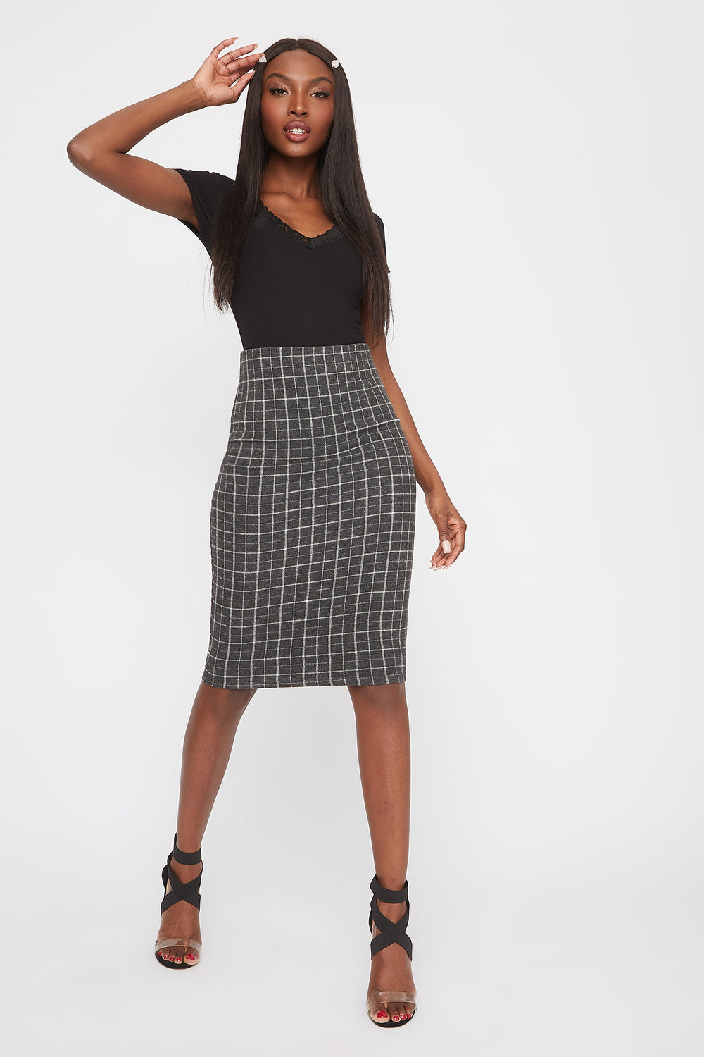 Patterned Midi Skirt Black With White