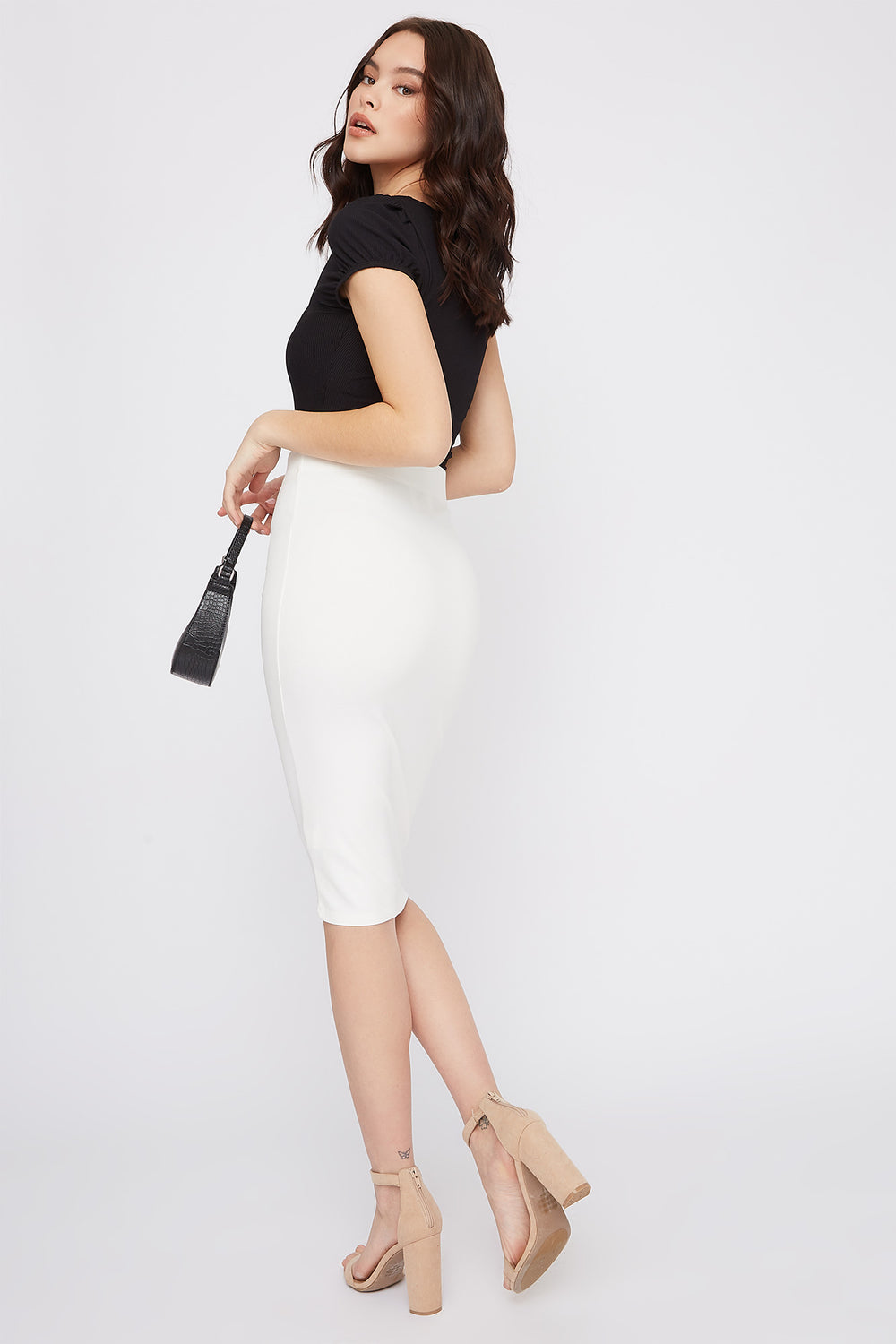 Bodycon Midi Skirt White