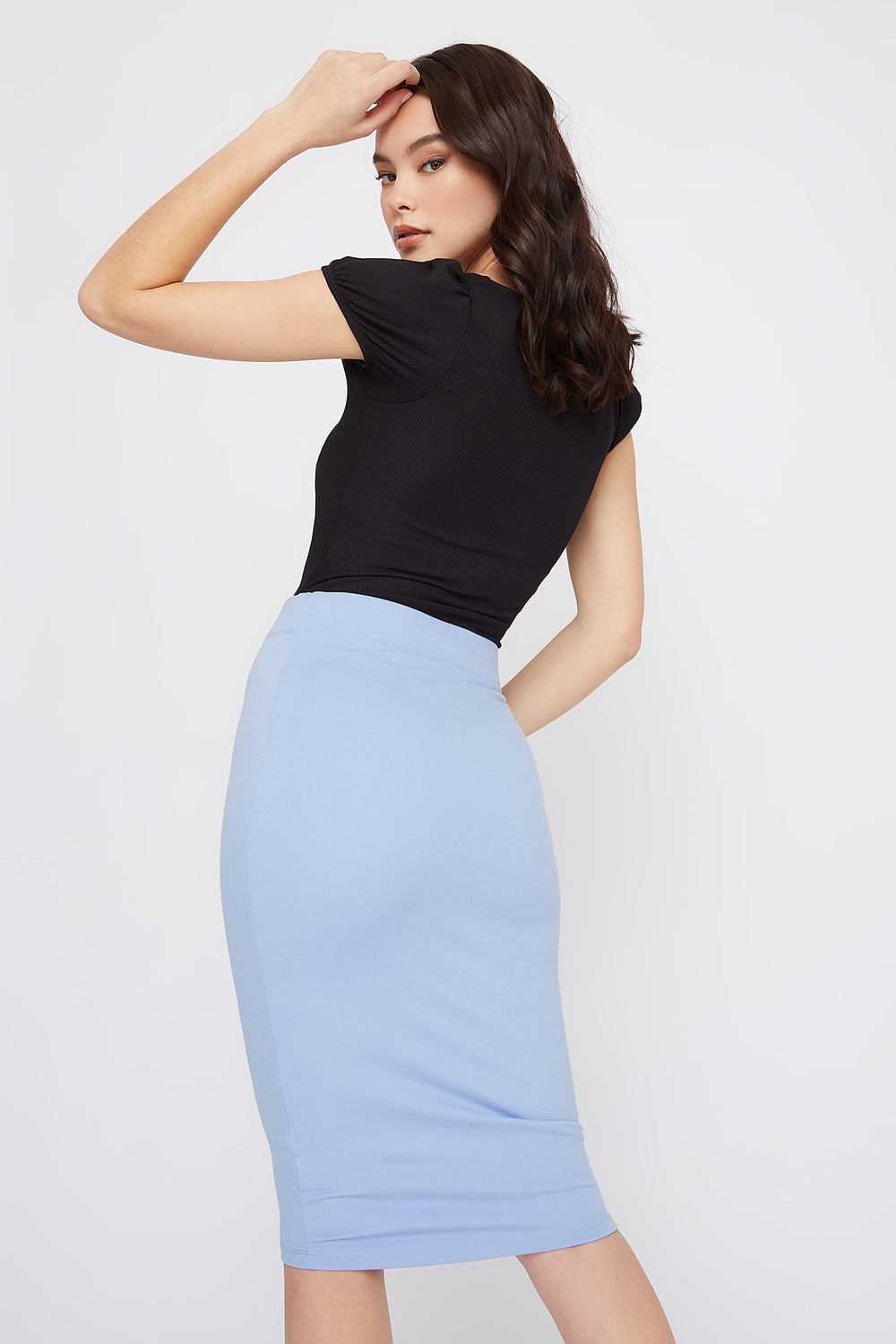 Bodycon Midi Skirt Light Blue