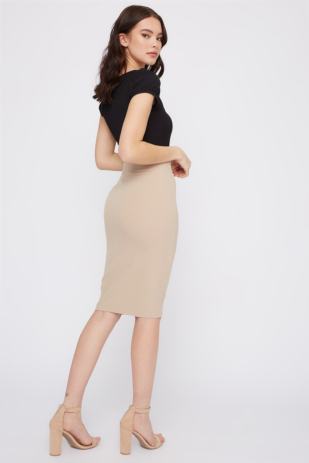 Bodycon Midi Skirt Taupe