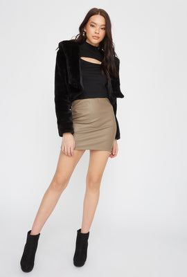 Faux-Leather Fitted Mini Skirt