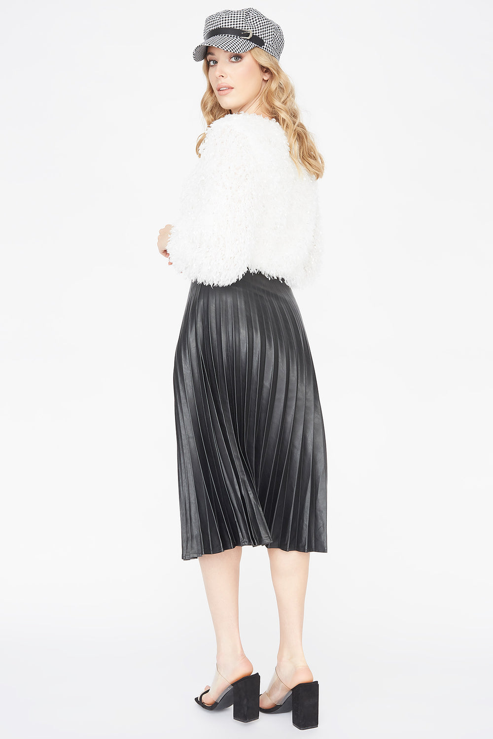 Faux-Leather Pleated Midi Skirt Black