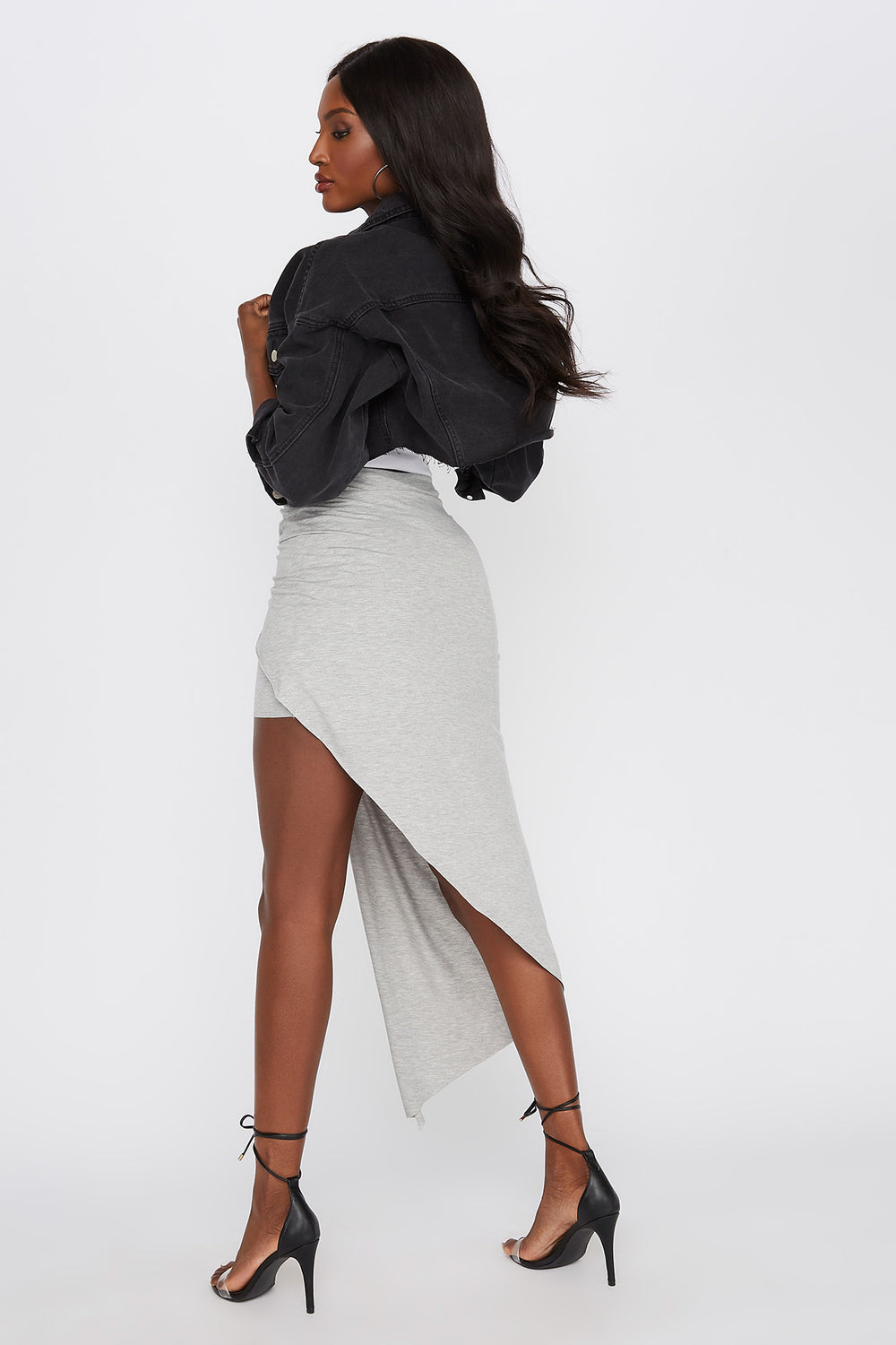 Asymmetric Wrap Midi Skirt Heather Grey