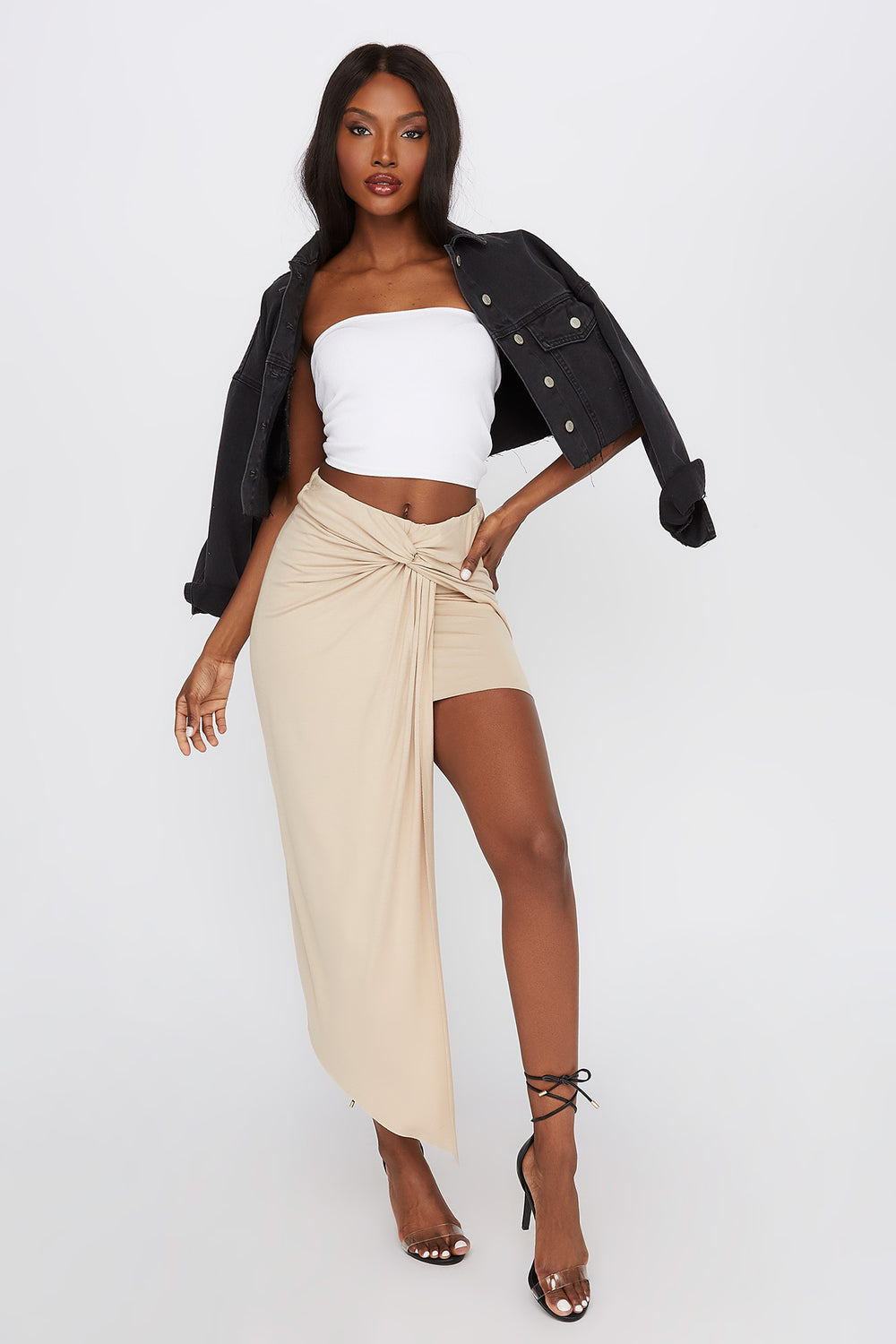 Asymmetric Wrap Midi Skirt Tan