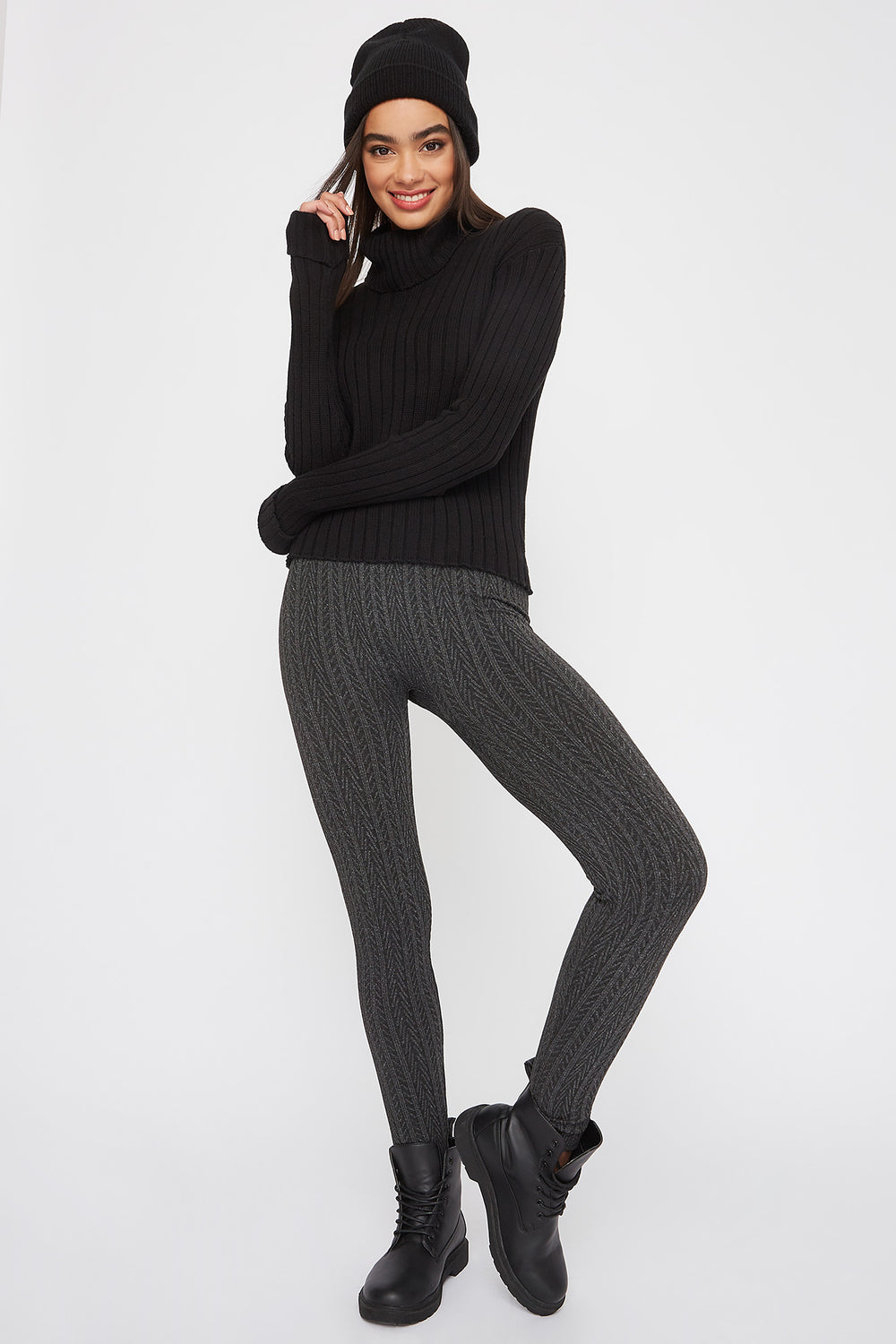 Cable Knit Legging Charcoal
