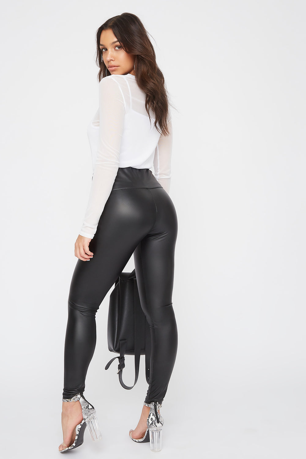 Legging de base en similicuir Noir