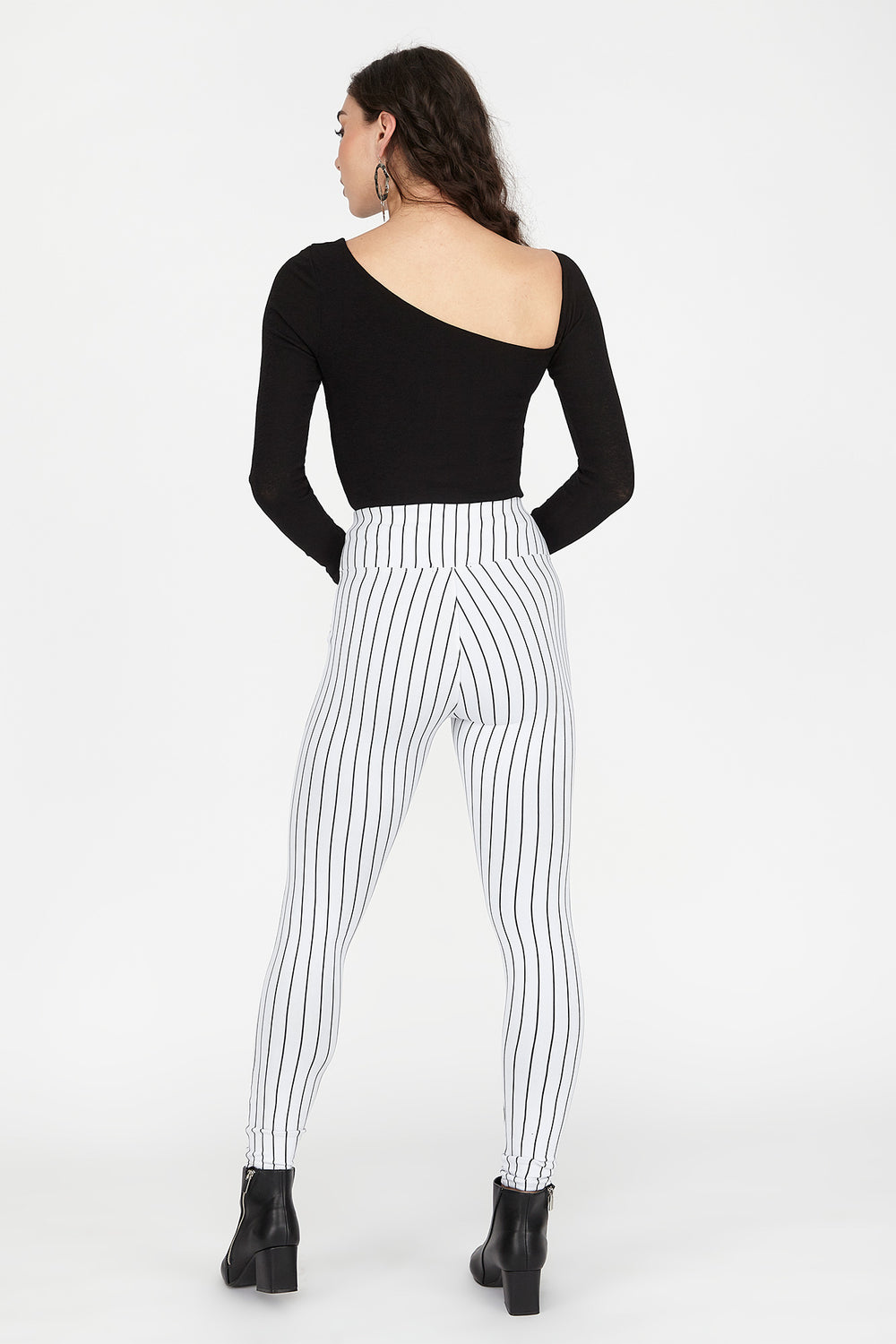 Striped High-Rise Zip Legging White