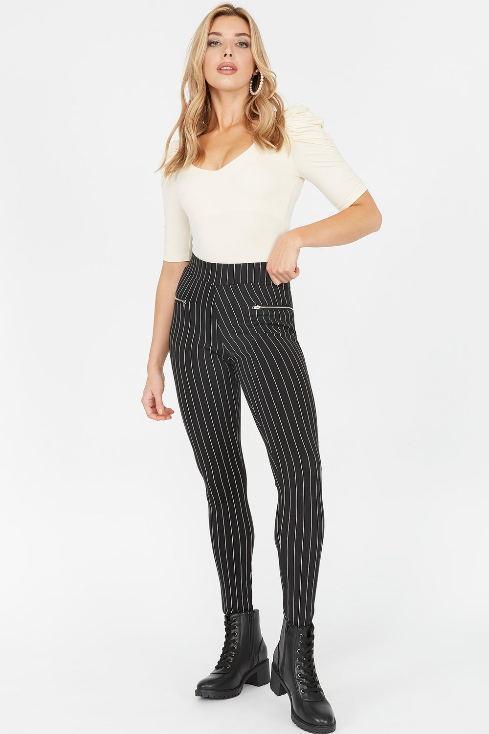 Soft High-Rise Striped Zip Legging Black with White