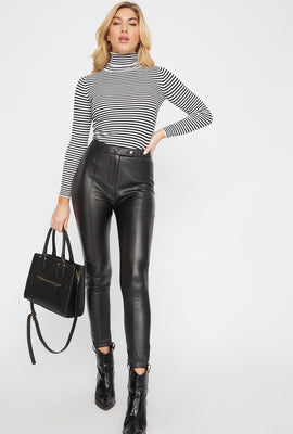 Seam Faux-Leather Pant