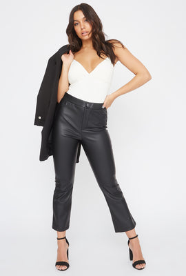Faux-Leather Cropped Flare Pant