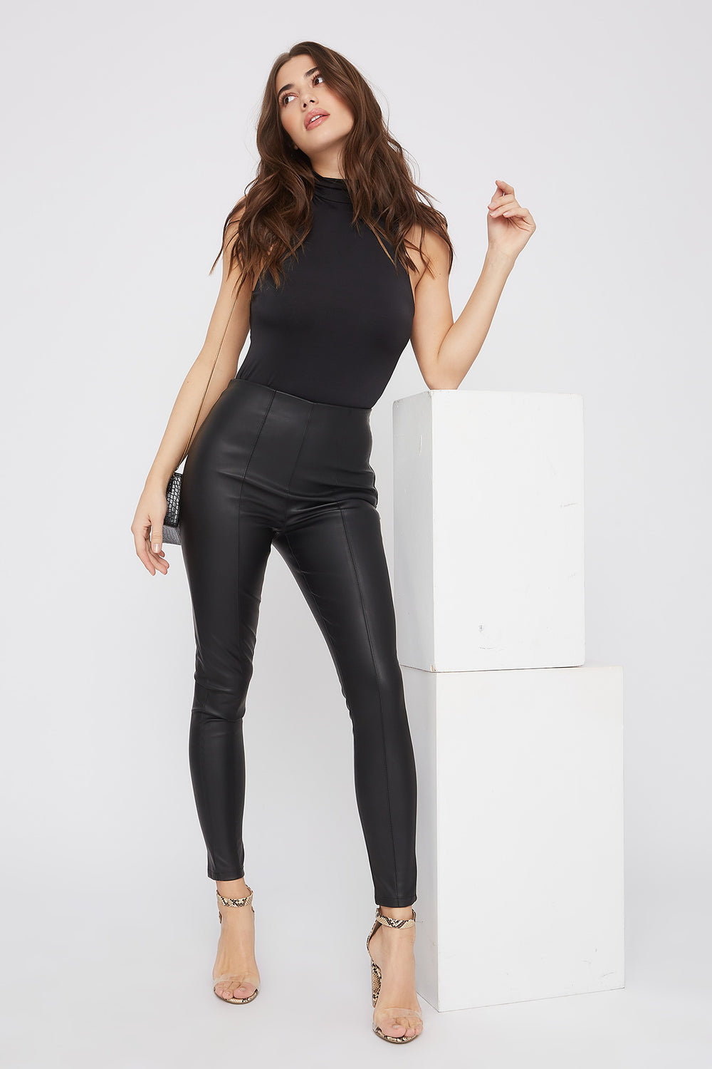 Faux-Leather Side Zip Skinny Pant Black
