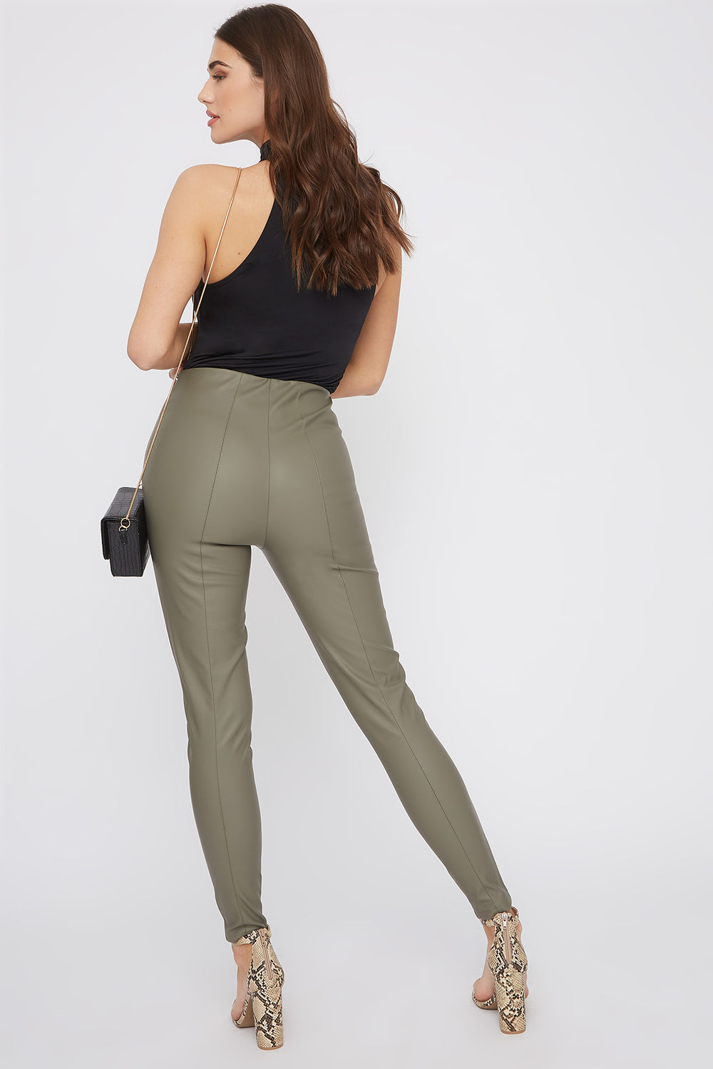 Faux-Leather Side Zip Skinny Pant Dark Green