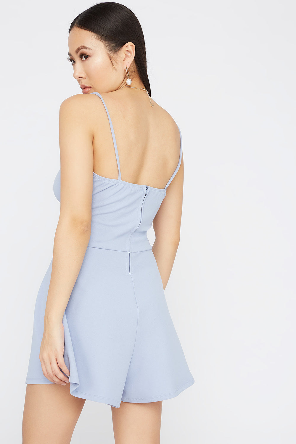 V-Neck Crossover Cut Out Romper Blue